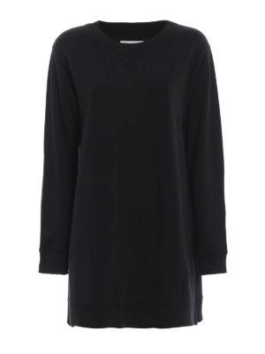 MM6 MAISON MARGIELA: Felpe e maglie - Felpa oversize nera con spacchi esagerati