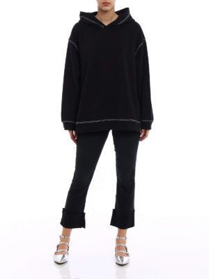 MM6 Maison Margiela: Sweatshirts & Sweaters online - Visible stitchings over hoodie