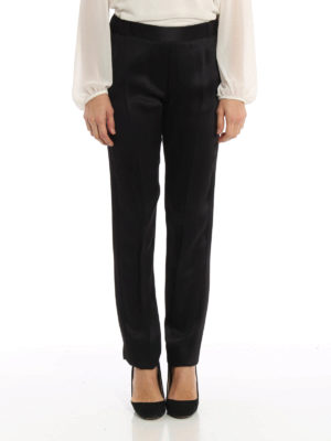 MM6 Maison Margiela: Tailored & Formal trousers online - Satin pull-on trousers