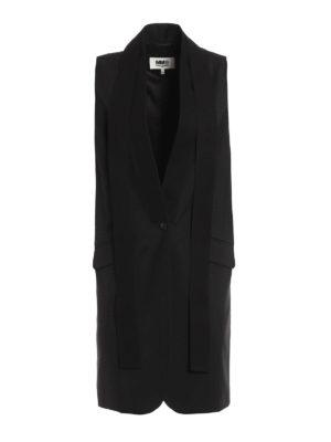 MM6 Maison Margiela: waistcoats & gilets - Sleek long wool waistcoat