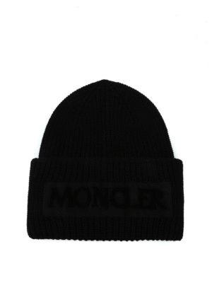 MONCLER: berretti - Berretto Moncler in lana a coste nera
