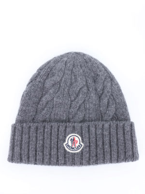 Moncler: beanies - Braid knitted wool beanie