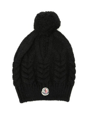 Moncler: beanies - Cable knitted pompon beanie