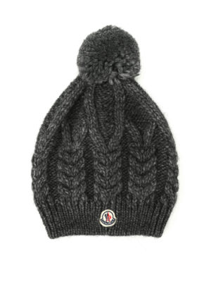 Moncler: beanies - Cable knitted wool alpaca beanie