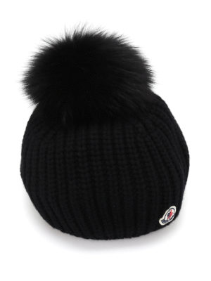 Moncler: beanies - Fox fur and cashmere blend beanie