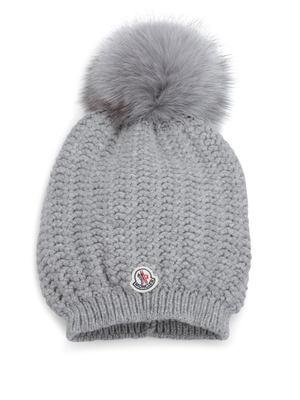 Moncler: beanies - Fox fur pom-pom hat