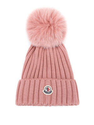 MONCLER: berretti - Berretto in lana rosa con pompon in pelliccia