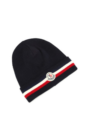 Moncler: beanies - Logo knitted wool beanie