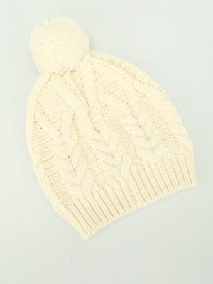 Moncler: beanies online - Cable knitted pompon beanie