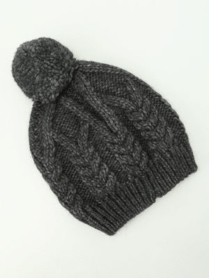 Moncler: beanies online - Cable knitted wool alpaca beanie