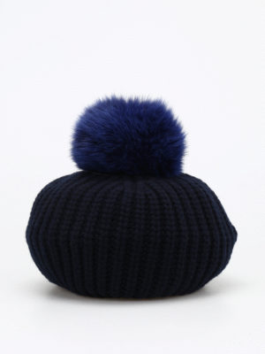 Moncler: beanies online - Fox fur and cashmere blend beanie
