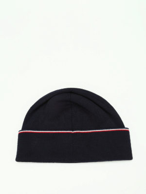 Moncler: beanies online - Logo knitted wool beanie