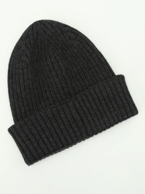 Moncler: beanies online - Rib knitted grey wool beanie