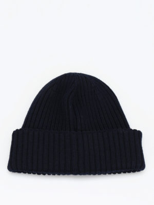 Moncler: beanies online - Rib knitted wool beanie