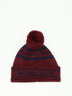 Moncler: beanies online - Striped virgin wool beanie