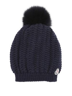 Moncler: beanies online - Wool blend fur bobble beanie
