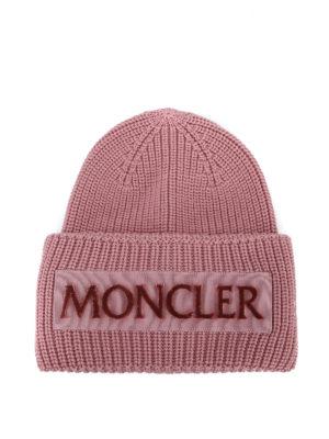 MONCLER: berretti - Berretto Moncler in lana a coste rosa