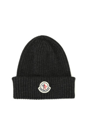 Moncler: beanies - Rib knitted grey wool beanie