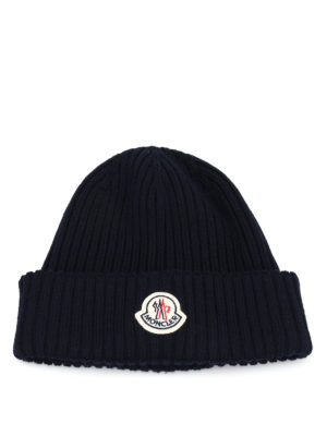 Moncler: beanies - Rib knitted wool beanie