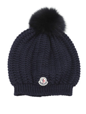 Moncler: beanies - Wool blend fur bobble beanie