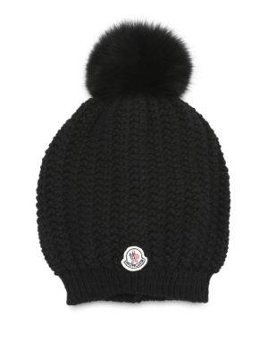 Moncler: beanies - Wool blend fur bobble beanie