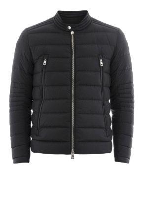 Moncler: biker jackets - Amiot quilted nylon biker jacket