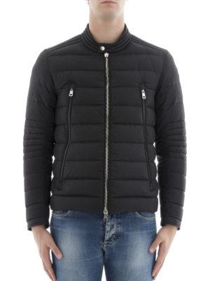 Moncler: biker jackets online - Amiot quilted nylon biker jacket