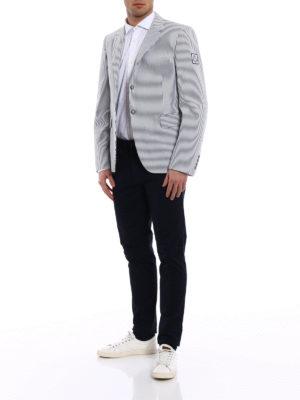 Moncler: blazers online - Striped seersucker cotton blazer