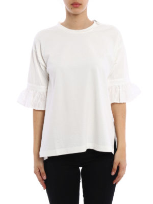 Moncler: blouses online - Ruffled jersey blouse