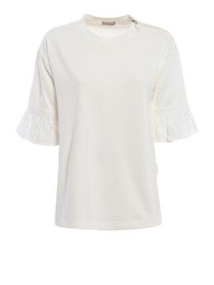 Moncler: blouses - Ruffled jersey blouse