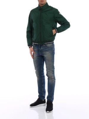 Moncler: bombers online - Allier green nylon bomber jacket
