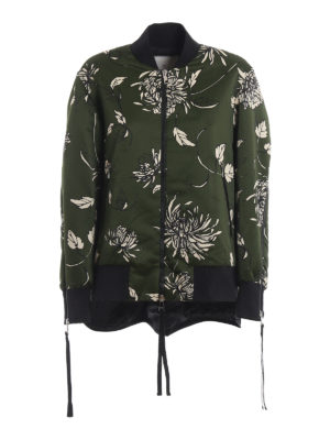 MONCLER: giacche bomber - Bomber Thimphou in duchesse stampata