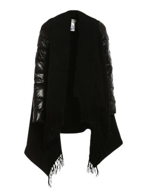 Moncler: Capes &  Ponchos - Wool cape with padded nylon sleeves