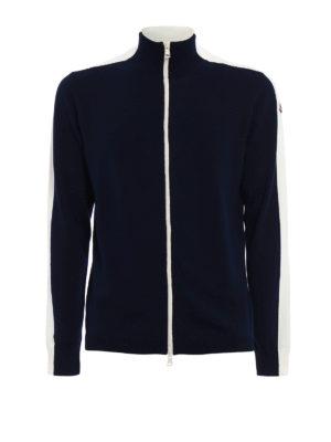 Moncler: cardigans - Contrasting details zipped cardigan