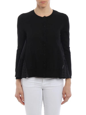 Moncler: cardigans online - Broderie anglaise gusset cardigan