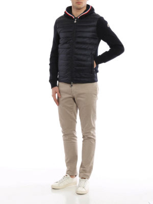 Moncler: cardigans online - Padded front hooded cardigan