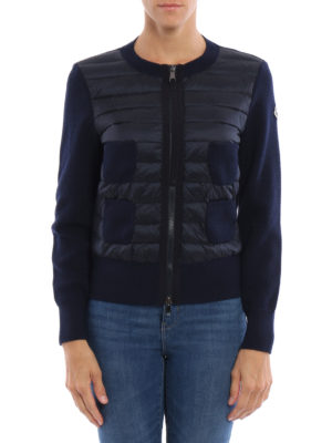 Moncler: cardigans online - Padded front seed stitch cardigan