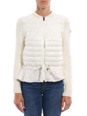 Moncler: cardigans online - Padded nylon front zip cardigan