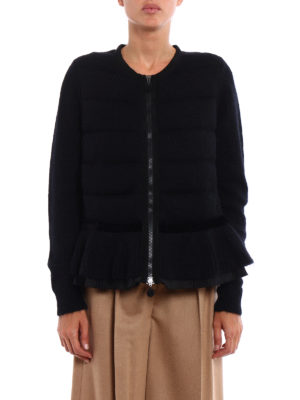 Moncler: cardigans online - Padded panelled mohair cardigan