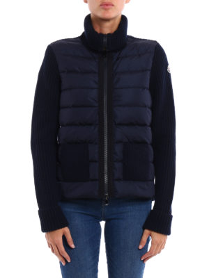 Moncler: cardigans online - Padded panelled wool cardigan