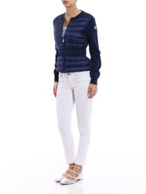 Moncler: cardigans online - Puffer front zipped wool cardigan