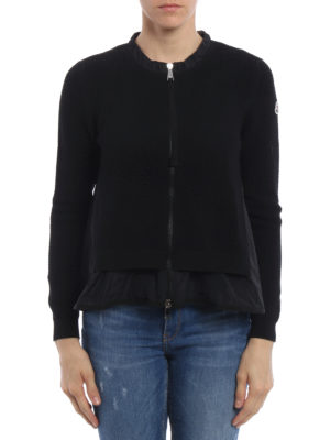 Moncler: cardigans online - Tricot cardigan with ruched inserts