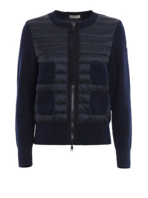 Moncler: cardigans - Padded front seed stitch cardigan