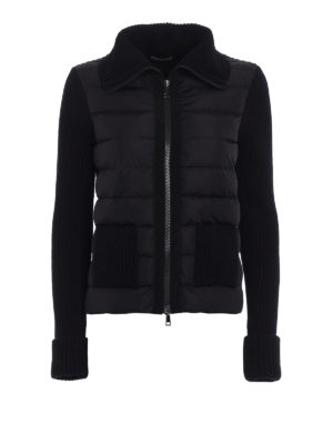 Moncler: cardigans - Padded panelled wool cardigan