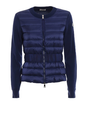 Moncler: cardigans - Puffer front zipped wool cardigan