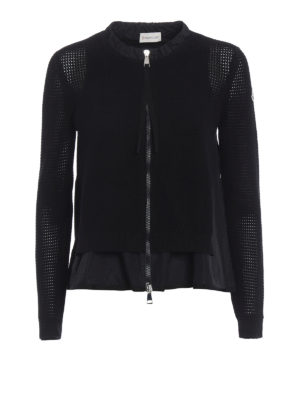 Moncler: cardigans - Tricot cardigan with ruched inserts