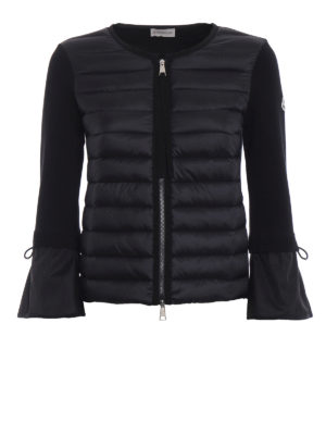 Moncler: casual jackets - Black padded nylon tricot jacket