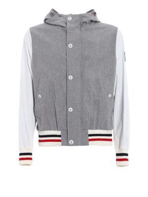 Moncler: casual jackets - Grey seersucker cotton windbreaker