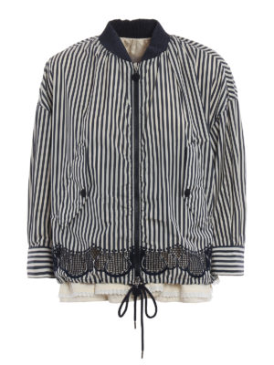 Moncler: casual jackets - Istres striped boxy jacket