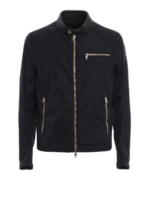 Moncler: casual jackets - Mercure leather detail biker jacket